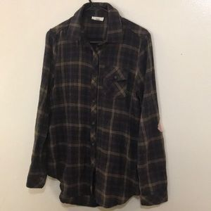 ODDY Plaid Print High/Low Shirt